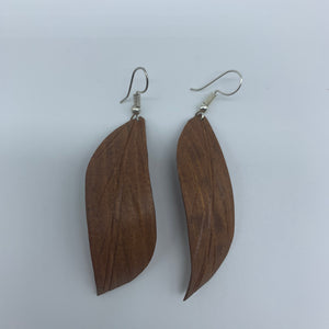 Wood Earrings-Brown Leaf - Lillon Boutique