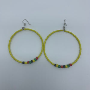 Beaded Earrings-Hoop Yellow Variation - Lillon Boutique