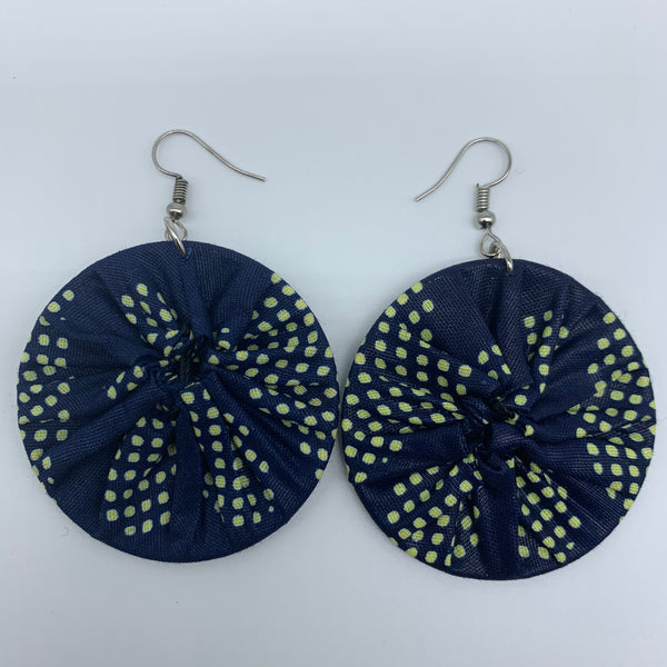 African Print Earrings-Round S Blue Variation 9