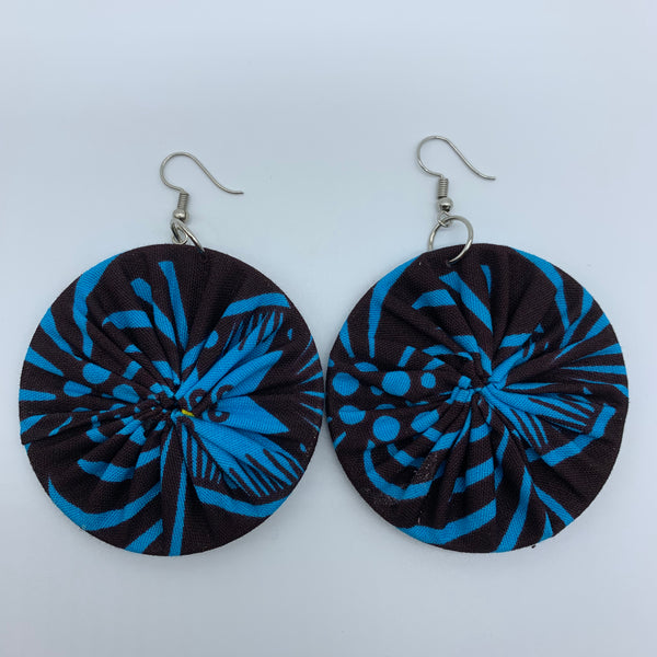 African Print Earrings-Round M Blue Variation 14 - Lillon Boutique