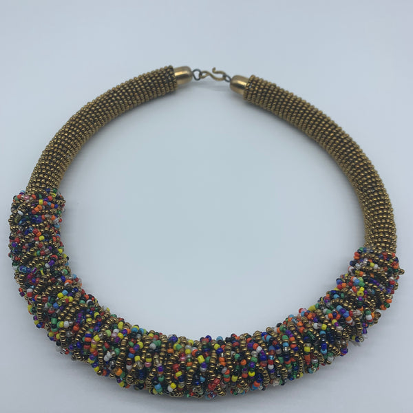 Beaded L Bangle Necklace- Gold Variation - Lillon Boutique