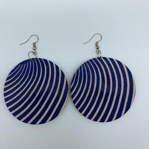 African Print Earrings-Round M Blue Variation 15 - Lillon Boutique