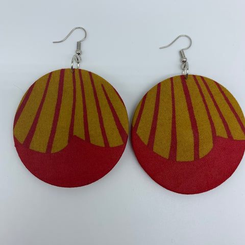 African Print Earrings-Round M Red Variation 8
