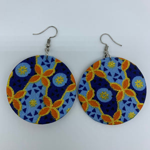 African Print Earrings-Round S Blue Variation 14