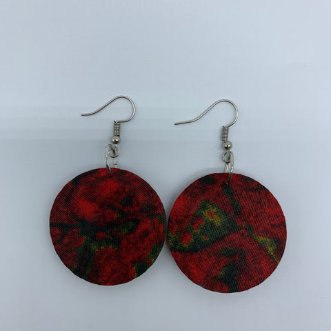 African Print Earrings-Round XS Red Variation 5