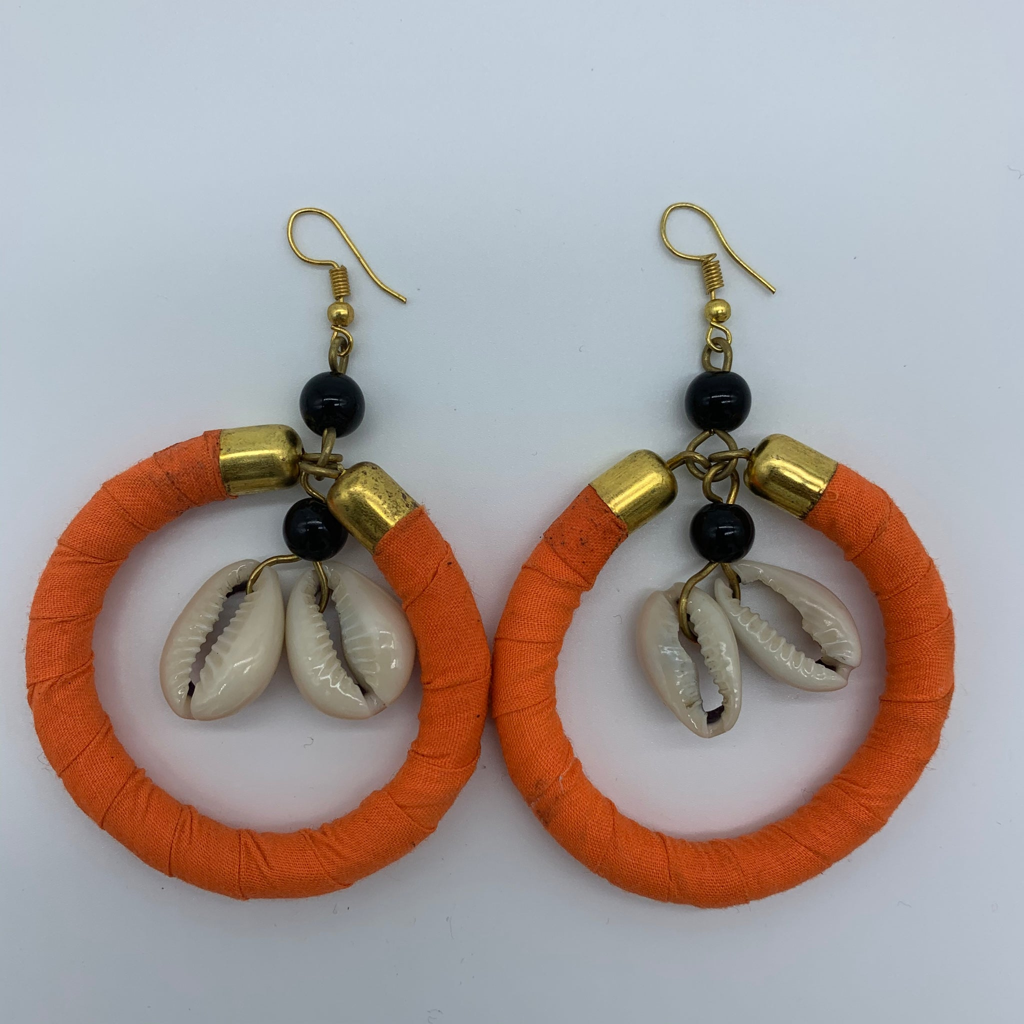 African Print W/Shell Earrings- Orange Variation