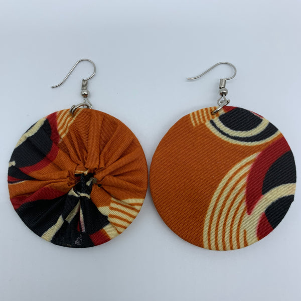African Print Earrings-Round S Orange Variation 14