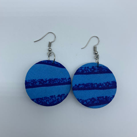 African Print Earrings-Round XS Blue Variation 4 - Lillon Boutique