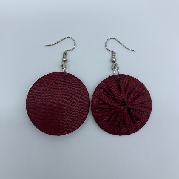 African Print Earrings-Round XS Red Variation 7 - Lillon Boutique