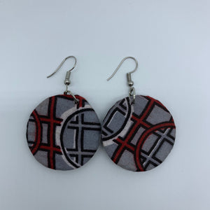 African Print Earrings-Round XS Grey Variation - Lillon Boutique