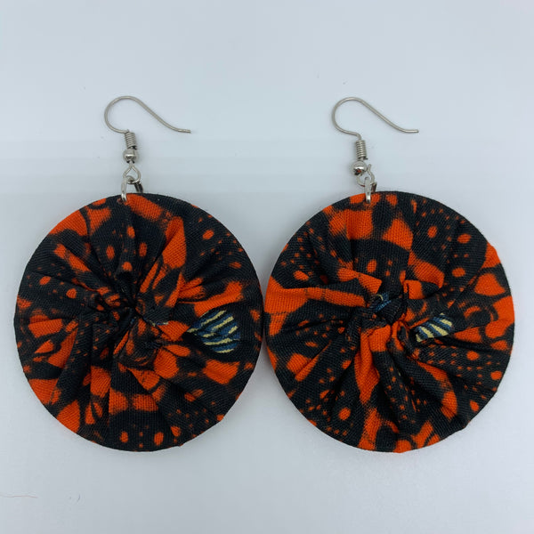 African Print Earrings-Round S Orange Variation 12 - Lillon Boutique