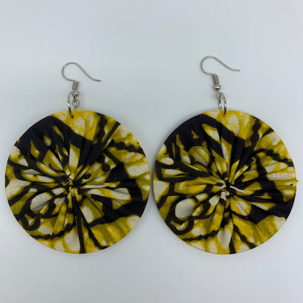 African Print Earrings-Round L Green Variation 6