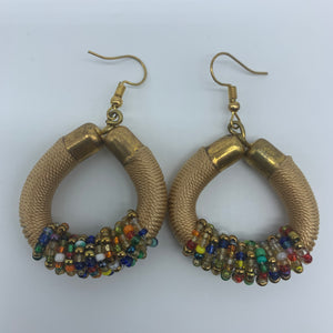 Thread Earrings W/Beads-Champagne Variation - Lillon Boutique