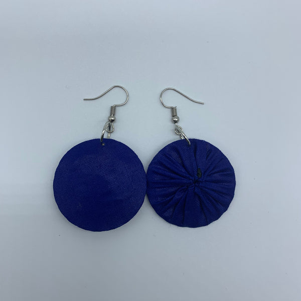 African Print Earrings-Round XS Blue Variation 3 - Lillon Boutique