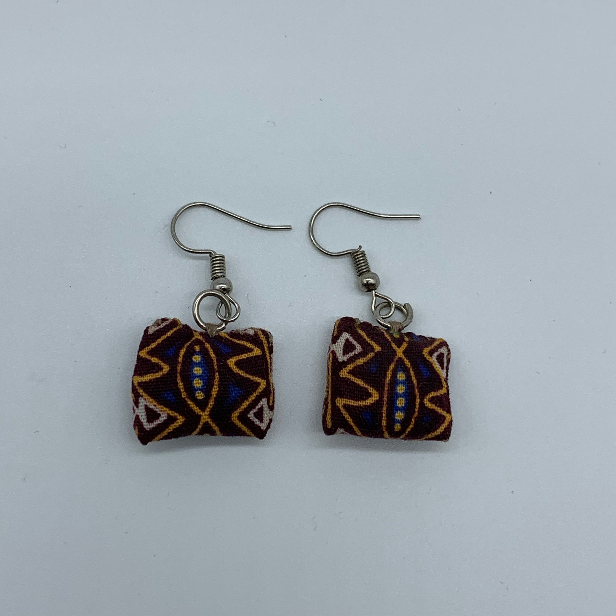 African Print Earrings-Mini Pillow Brown Variation