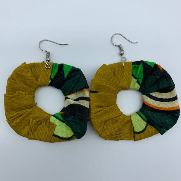 African Print Earrings-Faux Scrunchy Green Variation 2