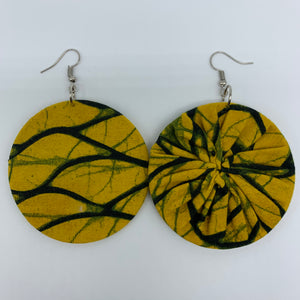 African Print Earrings-Round M Yellow Variation 6 - Lillon Boutique