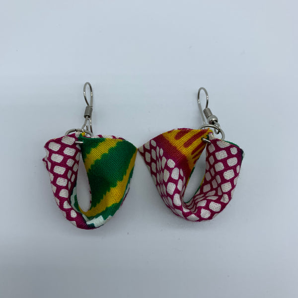 African Print Earrings-Folded Pink Variation