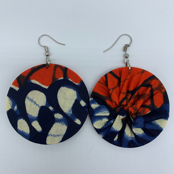 African Print Earrings-Round S Blue Variation 6 - Lillon Boutique