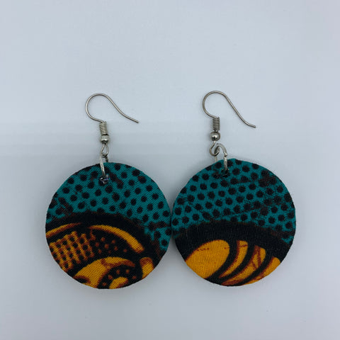 African Print Earrings-Round XS Blue Variation 10 - Lillon Boutique