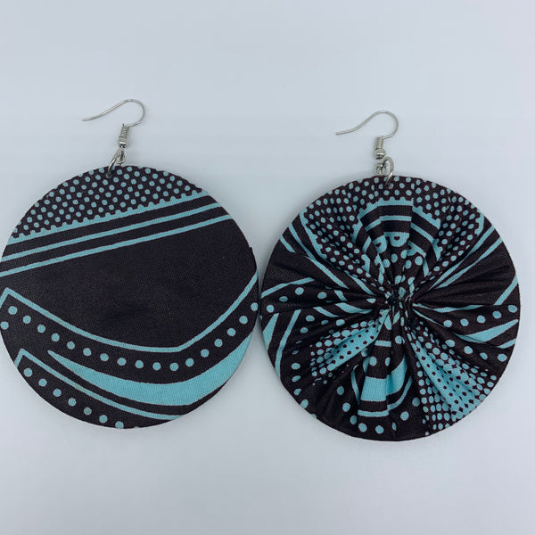 African Print Earrings-Round L Brown Variation 9 - Lillon Boutique