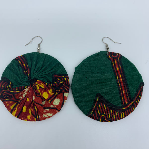 African Print Earrings-Round L Green Variation 10