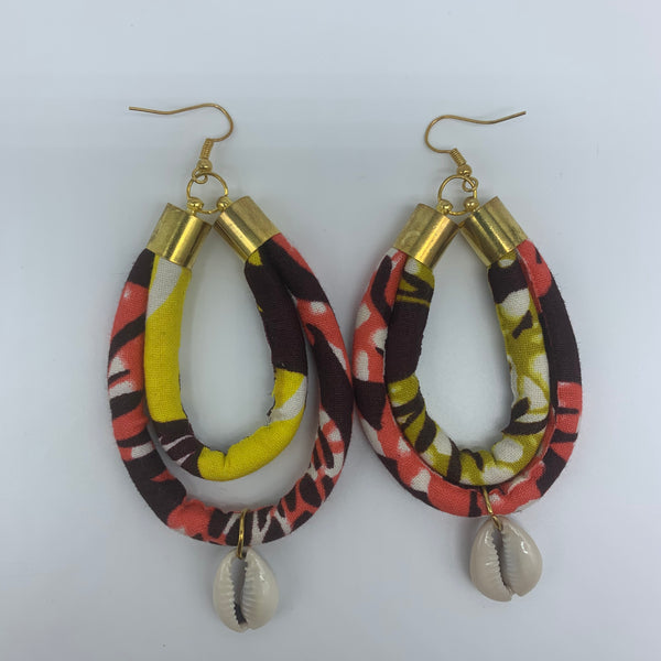 African Print W/Shell Earrings- IC Pink Variation - Lillon Boutique