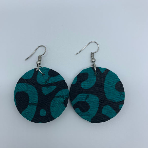 African Print Earrings-Round XS Green Variation 3