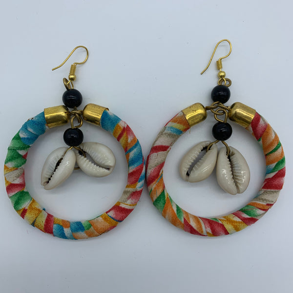 African Print W/Shell Earrings- Orange Variation 2 - Lillon Boutique