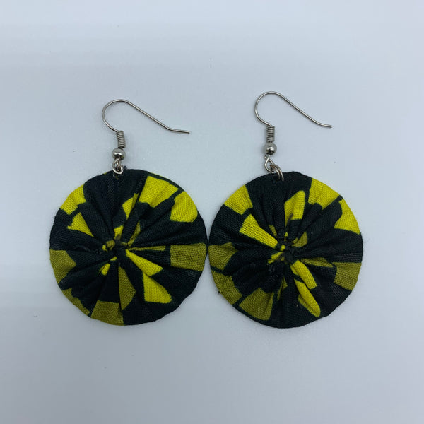 African Print Earrings-Round XS Black Variation