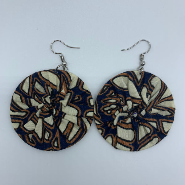 African Print Earrings-Round S Ivory Variation - Lillon Boutique
