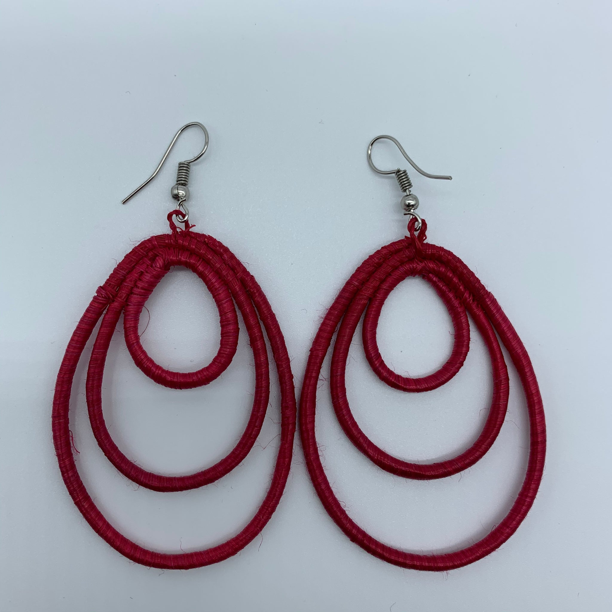 Sisal Earrings- NC Red Variation - Lillon Boutique