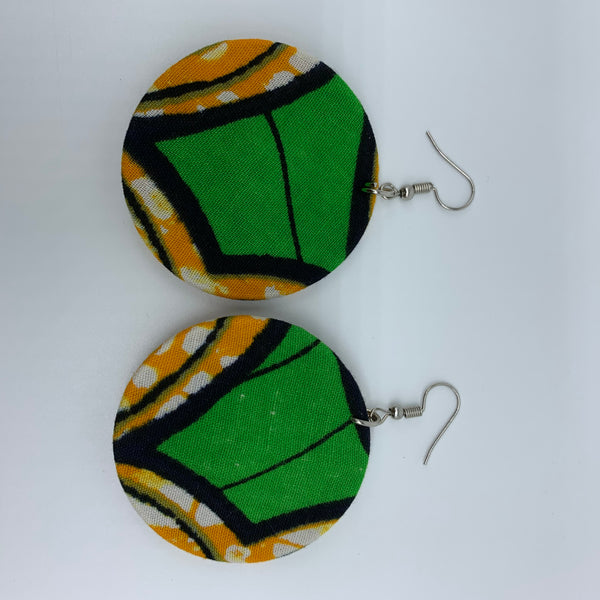 African Print Earrings-Round S Green Variation 7 - Lillon Boutique