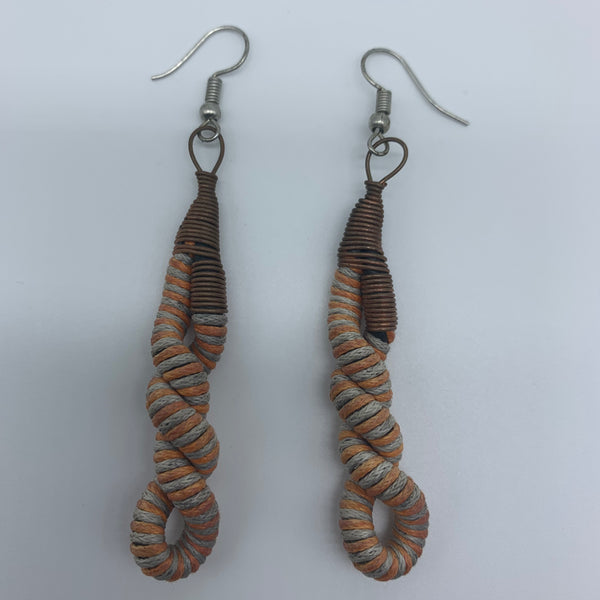 Thread Earrings W/Metal Wire-Orange Variation 2 - Lillon Boutique