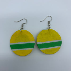 African Print Earrings-Round XS Yellow Variation 7 - Lillon Boutique