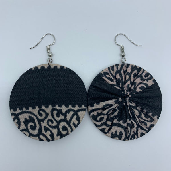 African Print Earrings-Round S Black Variation 2 - Lillon Boutique