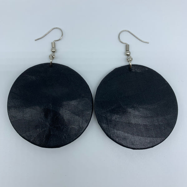 African Print Earrings-Round S Black Variation 5