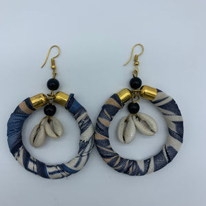 African Print W/Shell Earrings- Blue Variation
