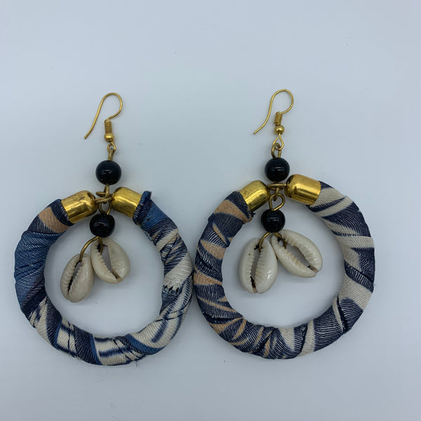 African Print W/Shell Earrings- Blue Variation - Lillon Boutique