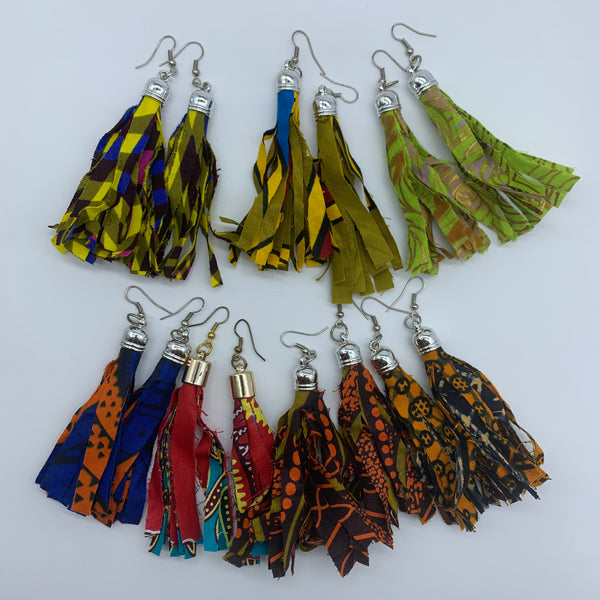 African Print Earrings-Tassel Blue Variation