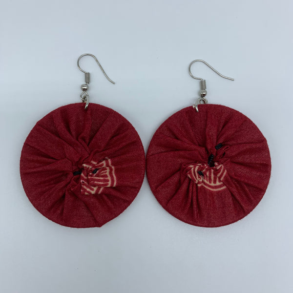 African Print Earrings-Round S Red Variation 5