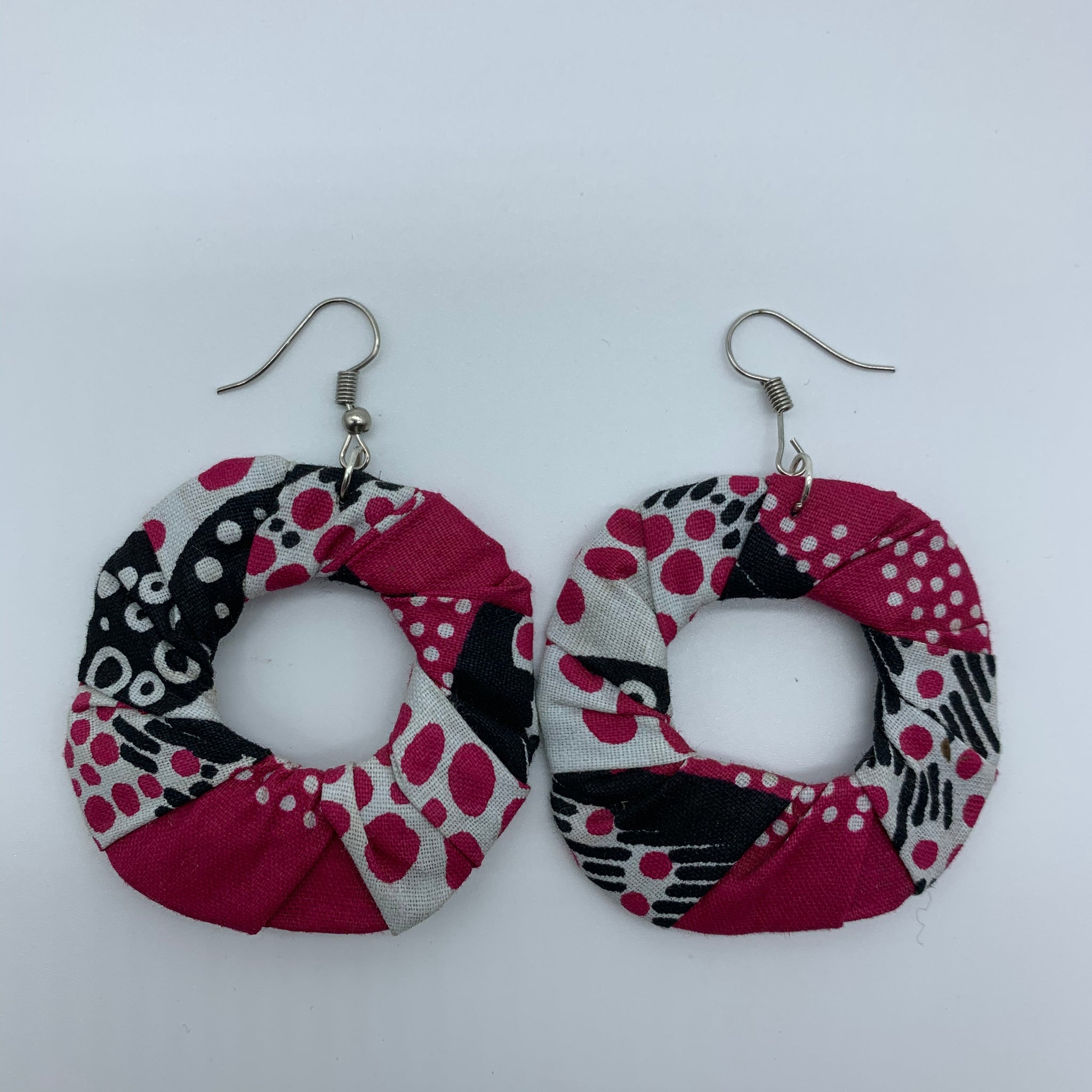 African Print Earrings-Faux Scrunchy Pink Variation