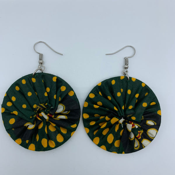 African Print Earrings-Round S Green Variation 3 - Lillon Boutique