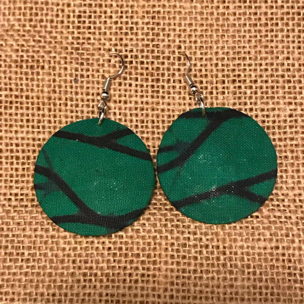 African Print Earrings- Green Variation 6