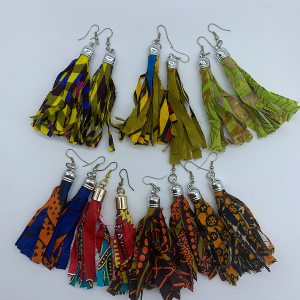 African Print Earrings-Tassel Red Variation
