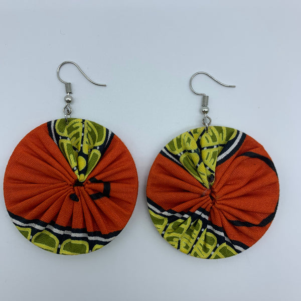 African Print Earrings-Round S Orange Variation - Lillon Boutique