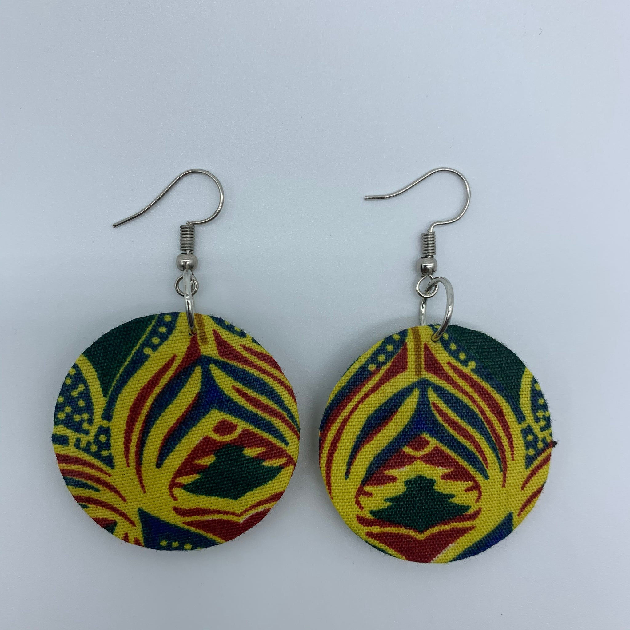 African Print Earrings-Round XS Yellow Variation 3 - Lillon Boutique