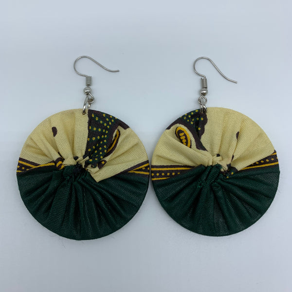 African Print Earrings-Round S Green Variation 11