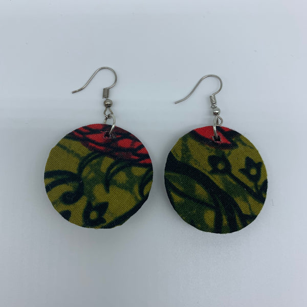 African Print Earrings-Round XS Green Variation 7