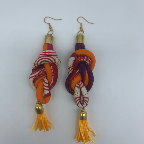 African Print Earrings-Knotted L Orange Variation - Lillon Boutique